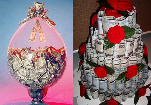 Свадебный подарок из денег своими руками