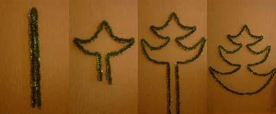 Как сделать елку из мишуры на стене фото
